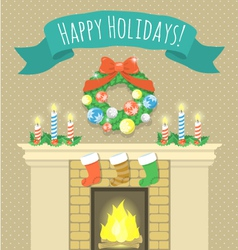 Christmas fireplace vector image