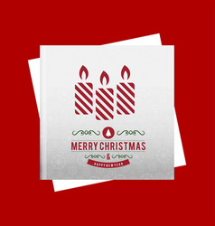christmas greetings card with candle and red vector image