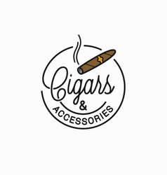 Cigars and accessories logo round linear cigar vector