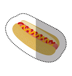 color hot dog fast food icon vector image