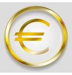 Concept golden euro symbol logo button vector image