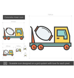 Concrete mixer line icon vector