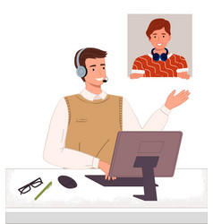 Consultant with headset and computer talking vector