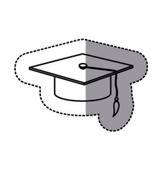 contour emblem graduation hat icon vector image