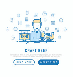 Craft beer concept man and mag with foam vector