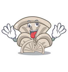 Crazy oyster mushroom mascot cartoon vector