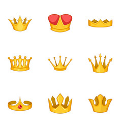 crowned person icons set cartoon style vector image