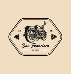 custom garage logo hand drawn motorcycle vector image