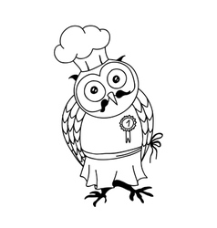 cute doodle owl with cake on head young lady vector image
