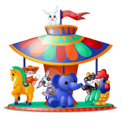 Cute funny animated animals ride carousel vector