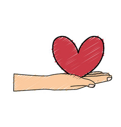 Cute hand with nice heart over vector