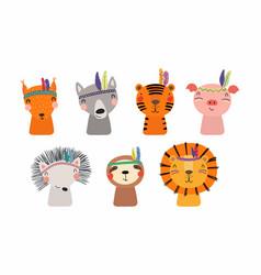 Cute little animals tribal set vector