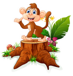 cute monkey posing on tree stump vector image