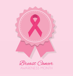cute pink breast cancer awareness month ribbon vector image