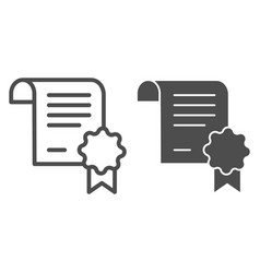 Diploma document line and glyph icon certified vector