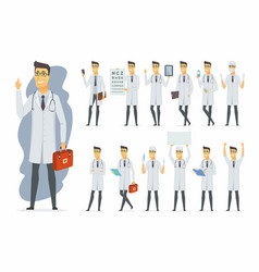 doctor - cartoon people character set vector image