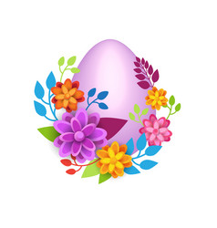 Easter egg decorated with colorful flowers vector