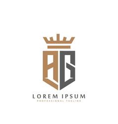 elegant wordmark ag initial shield crown logo vector image