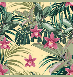 ficus palm leaves and pink orchid flowers seamless vector image