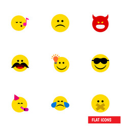 Flat icon face set of cheerful sad happy and vector