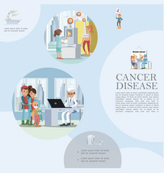 Flat people and cancer disease template vector
