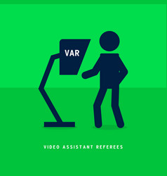 football referee watch replay video on var vector image