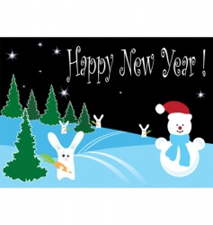 forest rabbits and snowman vector image
