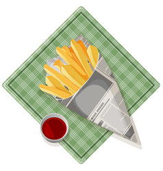 fried potato with tasty ketchup on pretty square vector image