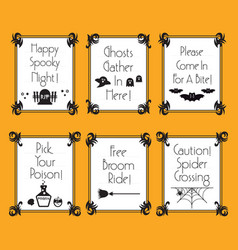 Funny conceptual halloween phrases and words cards vector