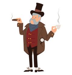 Gentleman smoking cigar and drinking coffee vector