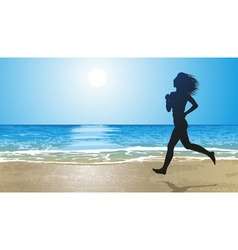 Girl Running on a Beach vector