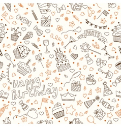 Hand drawn seamless pattern with Birthday elements vector image