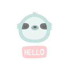 Hand drawn smiling sloth character vector