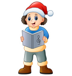 happy boy singing christmas vector image