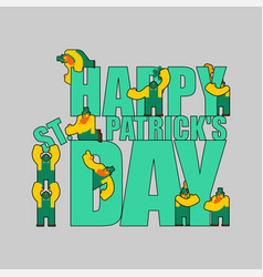 Happy st patricks day letter sign and leprechaun vector