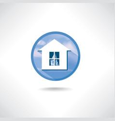 Home icon circle blue button building facade sign vector