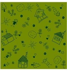 House set garden doodle art vector
