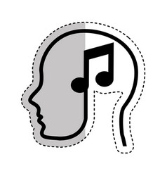 human profile with music note vector image