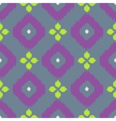 Ikat geometric seamless pattern Green and purple vector image