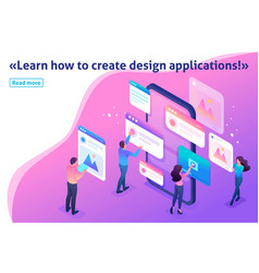isometric process of creating application design vector image