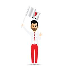 japan flag waving man vector image