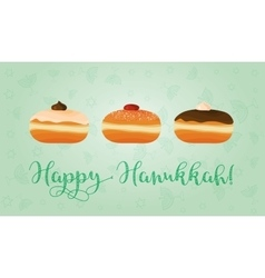 Jewish holiday of Hanukkah sufganiyot and vector