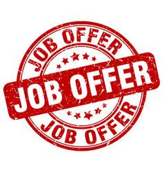 Job offer red grunge stamp vector