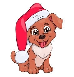 Little puppy with Santa hat 2 vector image