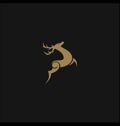 luxury deer logo design concept template vector image