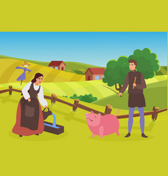 Medieval farmer family or couple people work in vector