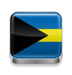Metal icon of Bahamas vector image