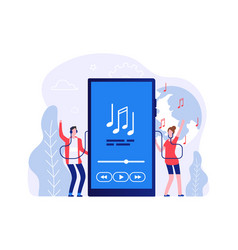 mobile music concept people listen songs online vector image
