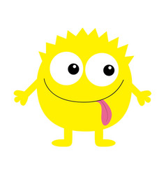 Monster yellow round silhouette two eyes tongue vector