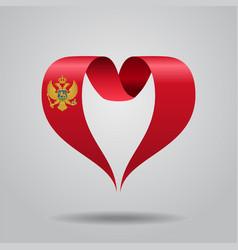 montenegrian flag heart-shaped ribbon vector image vector image